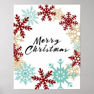 Frohe Weihnachten - Schneeflocke-Kranz - Plakat