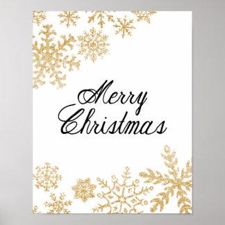 Frohe Weihnachten - Schneeflocken - Plakat