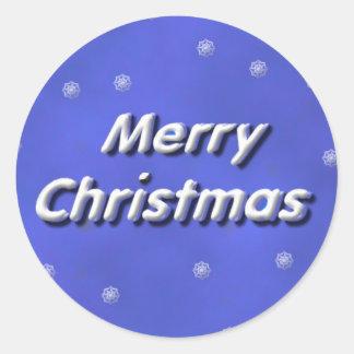 Frohe Weihnachten Snowy Runder Aufkleber