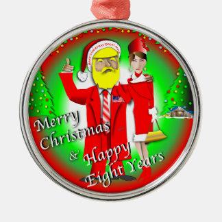 Frohe Weihnachten u. glückliche acht Jahre Silbernes Ornament