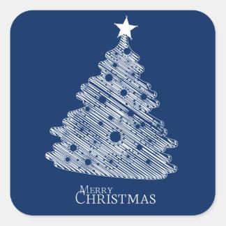 frohe Weihnachten und glückliches newyear Quadratischer Aufkleber