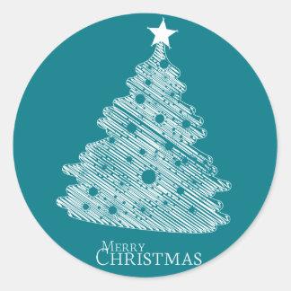 frohe Weihnachten und glückliches newyear Runder Aufkleber