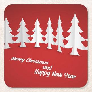 frohe Weihnachten und guten Rutsch ins Neue Jahr Rechteckiger Pappuntersetzer
