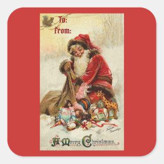 Frohe Weihnachten Vintage Sankt Quadratischer Aufkleber