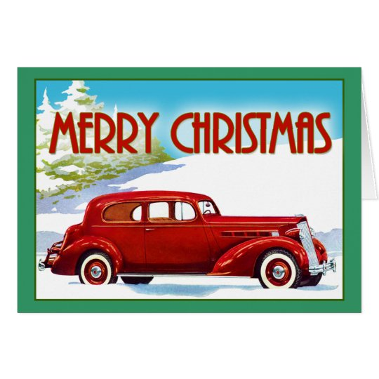 Frohe Weihnachten - Vintages Packard 1938 Karte