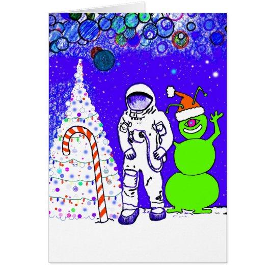 Frohe Weihnachten vom Mond! Karte