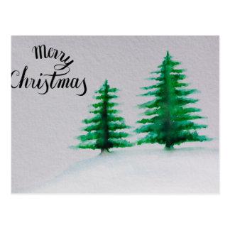 Frohe Weihnachten, Weihnachtsbaum-Aquarell Postkarte