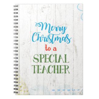 Frohe Weihnachten zu einem speziellen Lehrer Spiral Notizblock