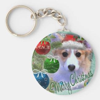 Frohe Weihnachtencorgi-Welpe Schlüsselanhänger