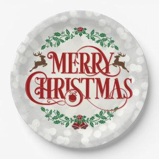 Frohe WeihnachtenVintage Pappteller 22,9 Cm
