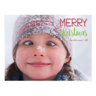 Frohe Weihnachtenwreath-Feiertags-Foto-Postkarte Postkarte