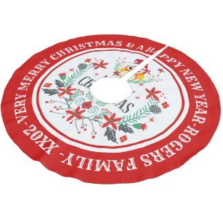 Frohe WeihnachtenWreath u. niedliche Eule Polyester Weihnachtsbaumdecke