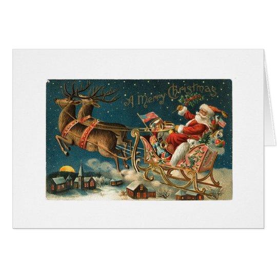 Frohen Weihnachten Vintage Sankt Grußkarte