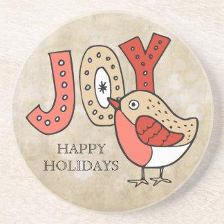 Froher Vogel-rustikales Weihnachten Sandstein Untersetzer