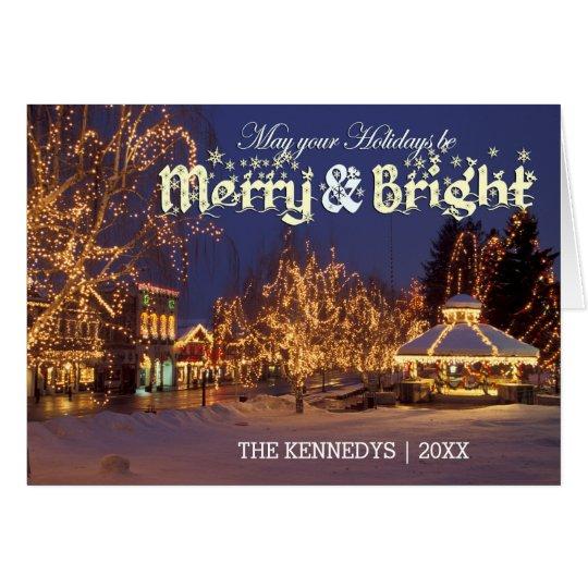 Fröhlich u. hell - Straße mit Weihnachtslichtern Karte