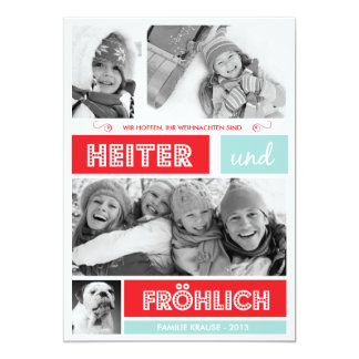 Fröhlich und Frohen Weihnachten 12,7 X 17,8 Cm Einladungskarte