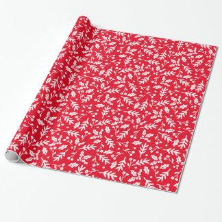 Fröhliche Beeren im roten Feiertags-Packpapier Geschenkpapier