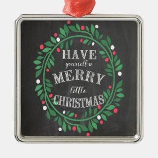 Fröhliche kleine Weihnachtskreide-Verzierung Quadratisches Silberfarbenes Ornament