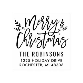 Fröhliche moderne Skript-Adresse des Weihnachten| Gummistempel