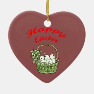 Fröhliche Ostern 4 Keramik Herz-Ornament