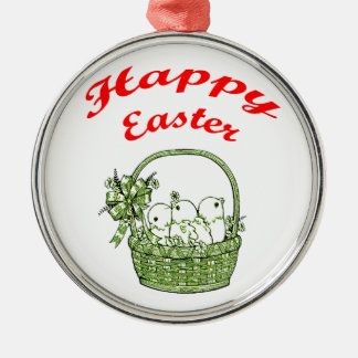 Fröhliche Ostern 4 Rundes Silberfarbenes Ornament