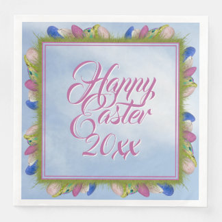 Fröhliche Ostern - Blumenphotographie-Ostereier Papierservietten
