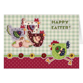 Fröhliche Ostern. Henne-Land-Entwurfs-Gruß-Karten Karte