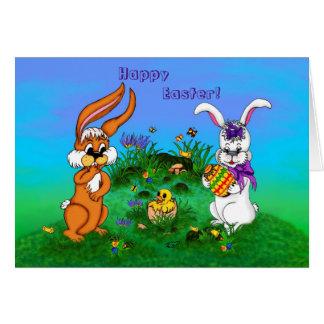 Fröhliche Ostern! Kaninchen mit Häschen und Küken Grußkarte