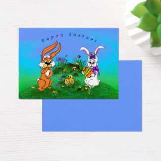 Fröhliche Ostern! Kaninchen mit Häschen und Küken Jumbo-Visitenkarten