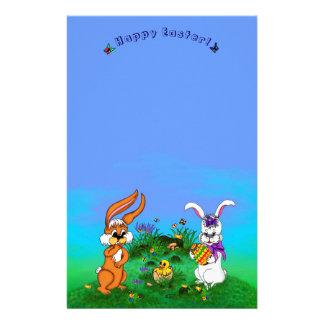 Fröhliche Ostern! Kaninchen mit Häschen und Küken Personalisiertes Büropapier
