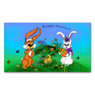 Fröhliche Ostern! Kaninchen mit Häschen und Küken Visitenkartenmagnet