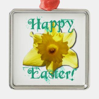 Fröhliche Ostern, Narzisse 01.2.T Quadratisches Silberfarbenes Ornament