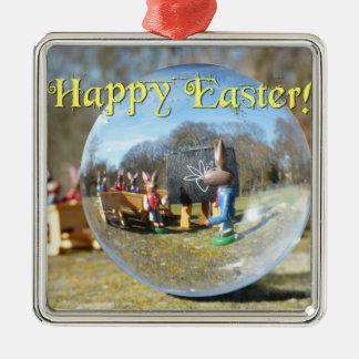 Fröhliche Ostern! Osterhasenschule 02.0.T Quadratisches Silberfarbenes Ornament