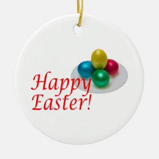 Fröhliche Ostern Rundes Keramik Ornament