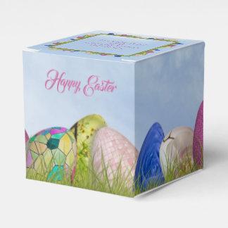 Fröhliche Ostern - verzierte Ei-Blumenphotographie Geschenkschachtel