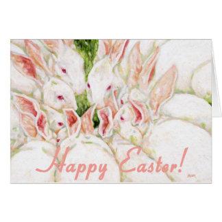 Fröhliche Ostern - weiße Kaninchen Karte