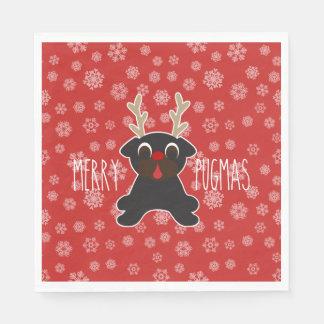 Fröhliche Pugmas Mops-Ren-Weihnachtsschneeflocken Papierservietten