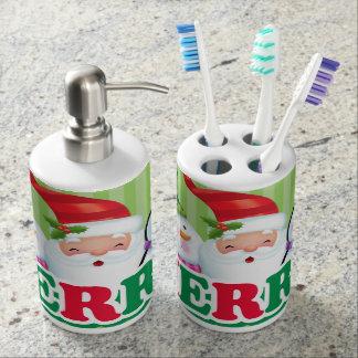 Fröhliche Seifen-Zufuhr und Zahnbürste-Halter Badezimmer-Sets