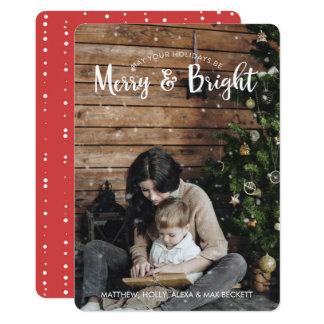 Fröhliche u. helle Feiertags-Karte mit Schnee 12,7 X 17,8 Cm Einladungskarte