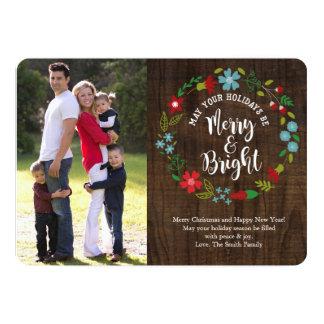 Fröhliche u. helle Foto-Weihnachtskarte Karte