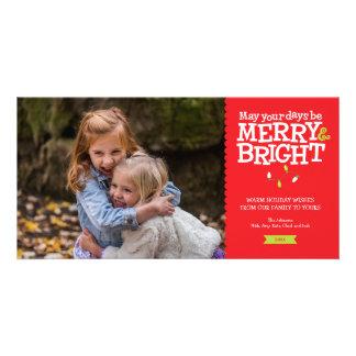 Fröhliche u. helle Spaß-Weihnachtslicht-Foto-Karte Karte