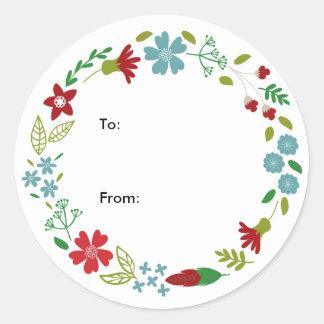 Fröhliche u. helle WeihnachtsKranz-Kreis-Aufkleber Runder Aufkleber
