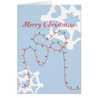 Fröhliche u. helle Weihnachtslichter Karte