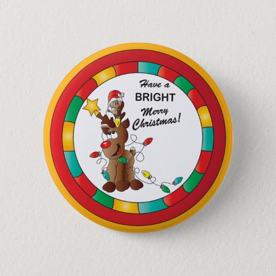 Fröhliche und helle Ren-und Weihnachtsmaus Runder Button 5,1 Cm