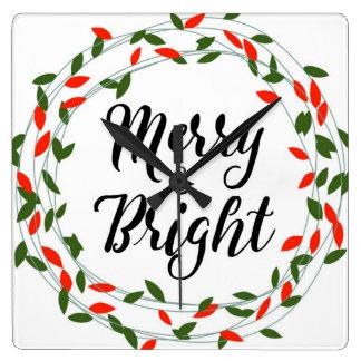 Fröhliche und helle - Weihnachten - quadratische Quadratische Wanduhr
