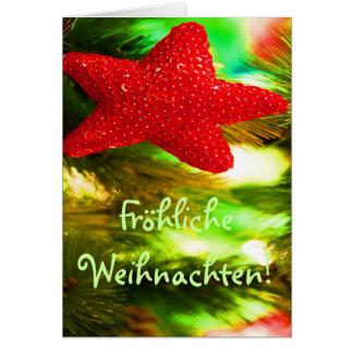 Fröhliche Weihnachten Christmas Red Star I Greeting Card