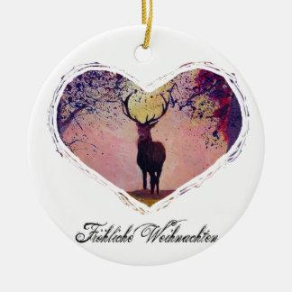 Fröhliche Weihnachten mit Hirschherz Keramik Ornament