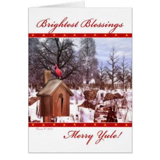 Fröhliche Weihnachten-Segen-Winter-Kardinals-Karte Karte