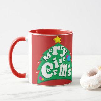 Fröhliche Weihnachtsbaum-Buchstaben Tasse