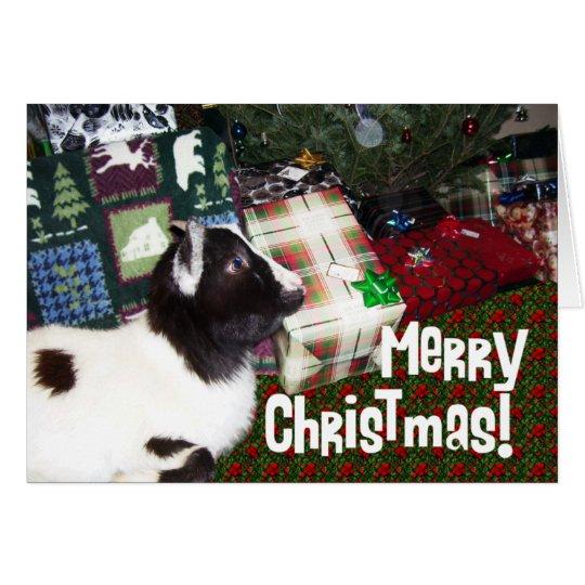 Fröhliche Weihnachtsgeschenke mit Ziege Rufus Grußkarte